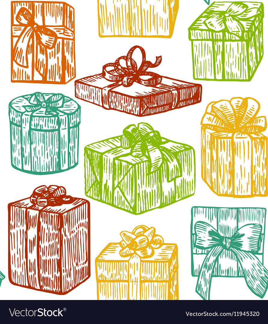 Hand drawn colorful gift background vector image