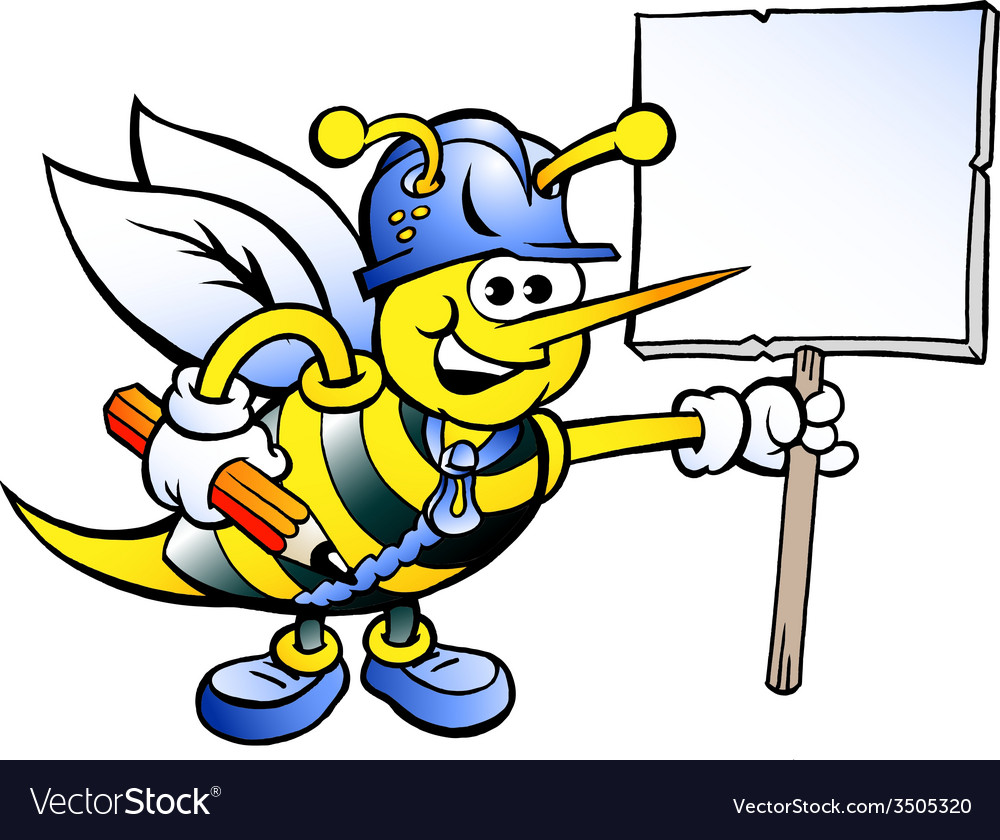 Hand-drawn of an Happy Working Bee Holding a Sign