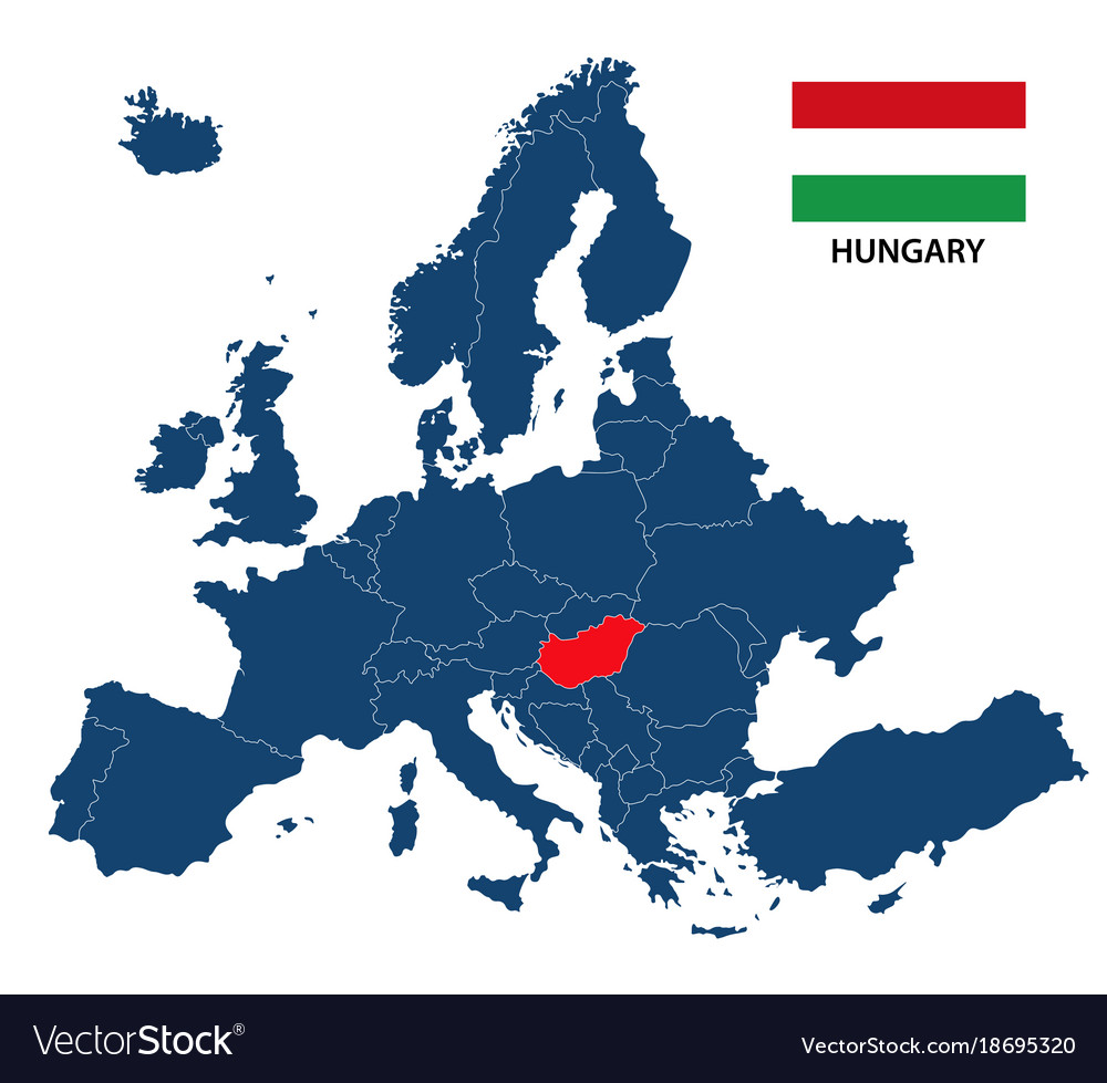 map of europe with hungary Map europe with highlighted hungary Royalty Free Vector