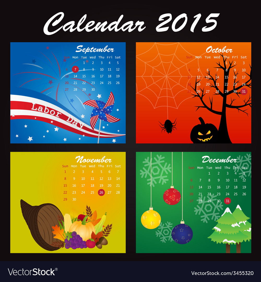 Public Holiday Calendar of 2015 vector image