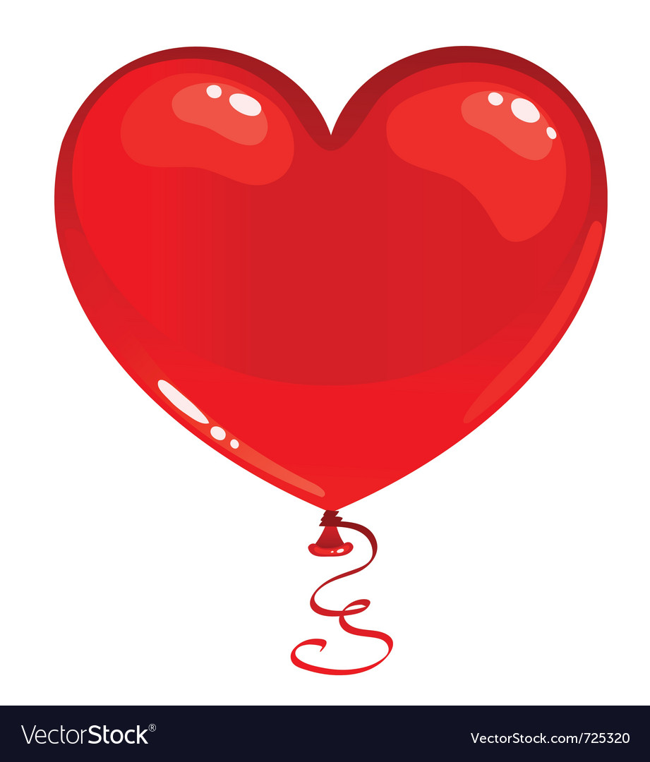 Red balloon heart vector image