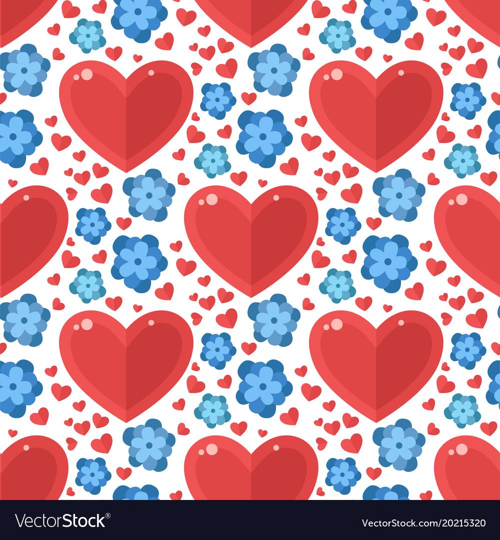 Red heart flowers seamless pattern