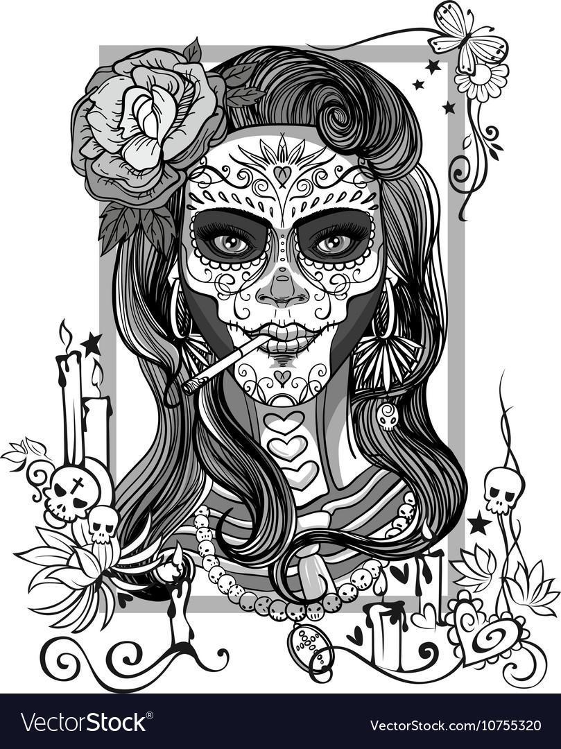 Sugar Skull Woman Royalty Free Vector Image Vectorstock
