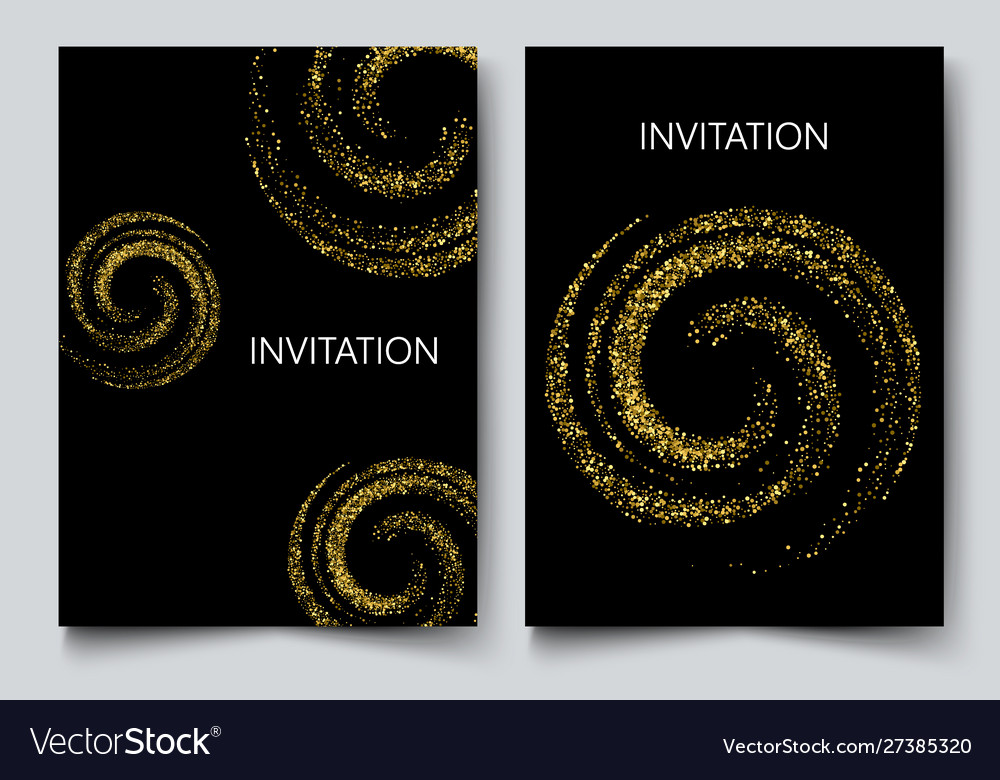 Two template design invitation with gold sequin