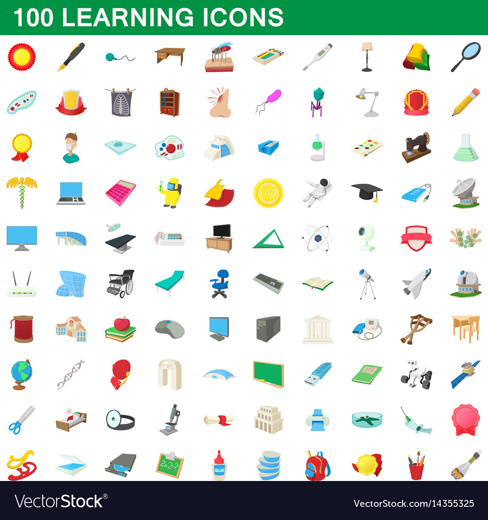 100 learning icons set cartoon style