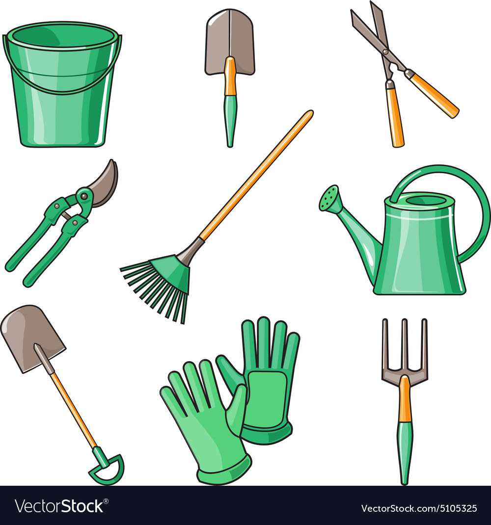 Garden Tools Flat Design Royalty Free Vector Image