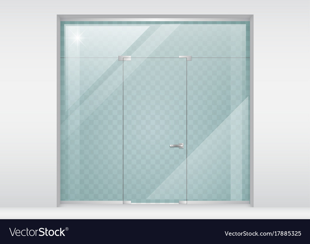 Glass partition with a door