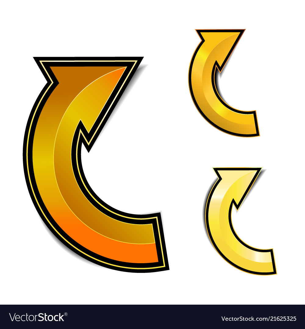 Gold curve arrow with shadow