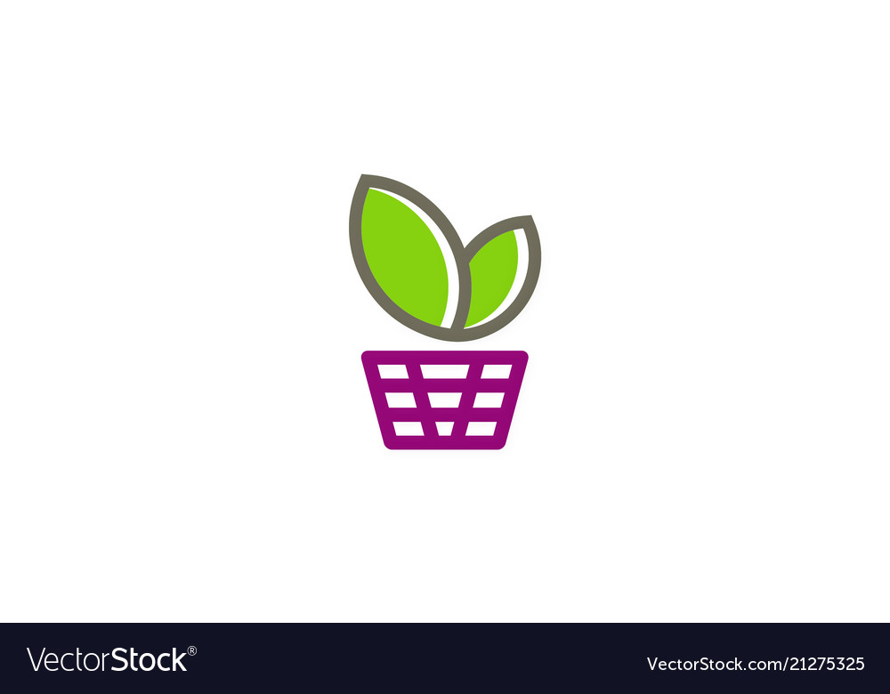 Green leaf basket shopping logo