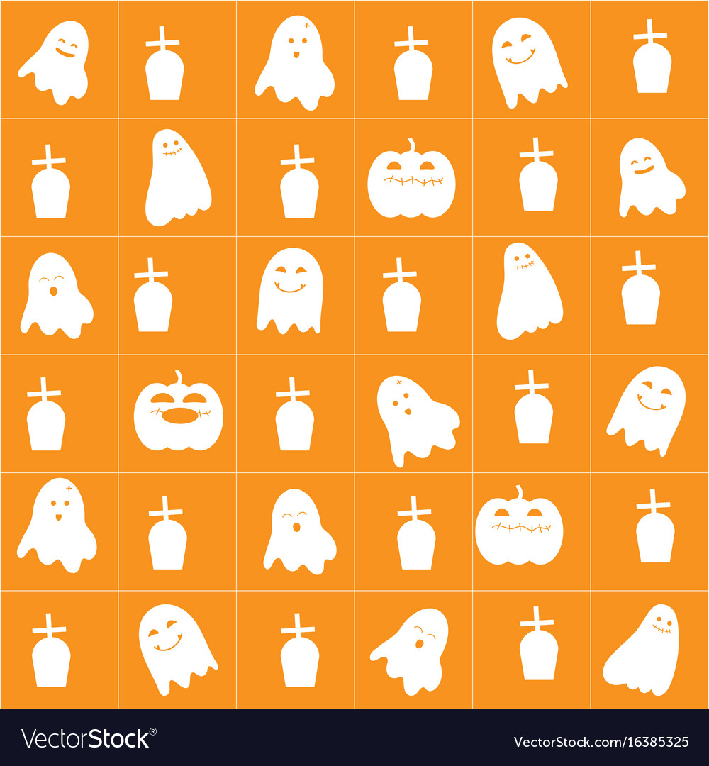Halloween background with cute cartoon ghost vector image