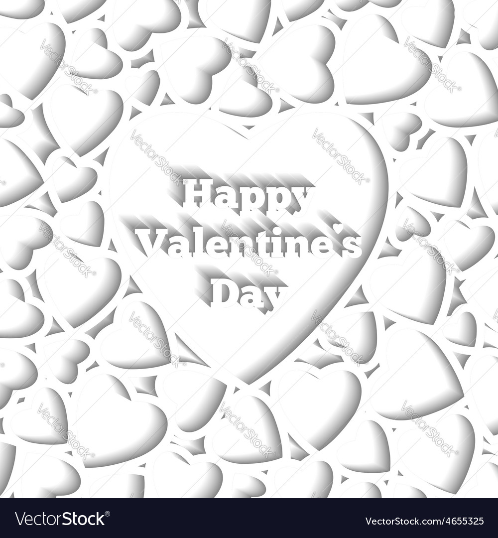 Happy Valentines Day Card Template Hearts On The Vector Image