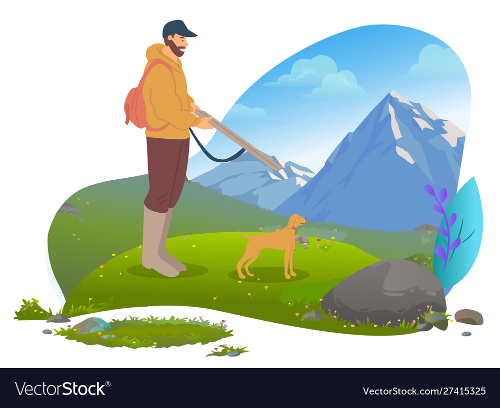 Male hunter with gun and dog mountains