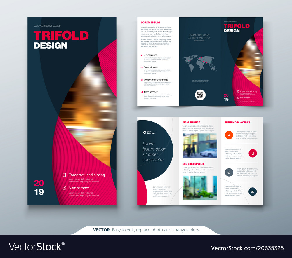 tri fold brochure design with circle corporate vector image