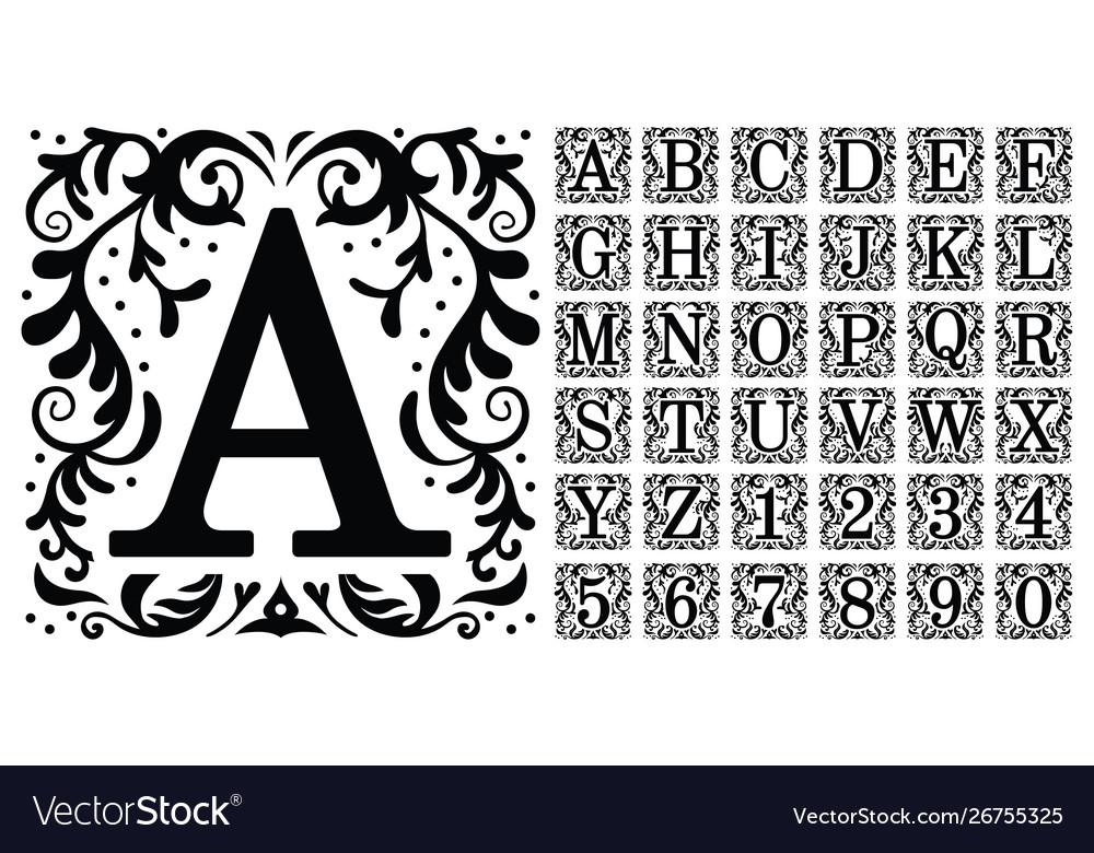 Vintage monogram letters decorative ornamental