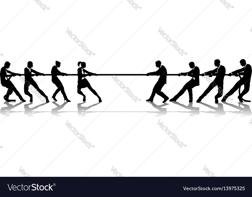 Women versus men business tug of war competition vector image