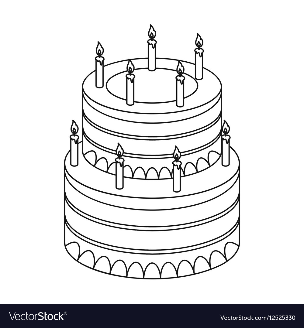 Birthday Cake Icon In Outline Style Isolated On Vector Image