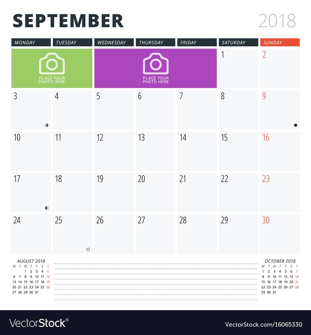 Calendar planner for september 2018 print design