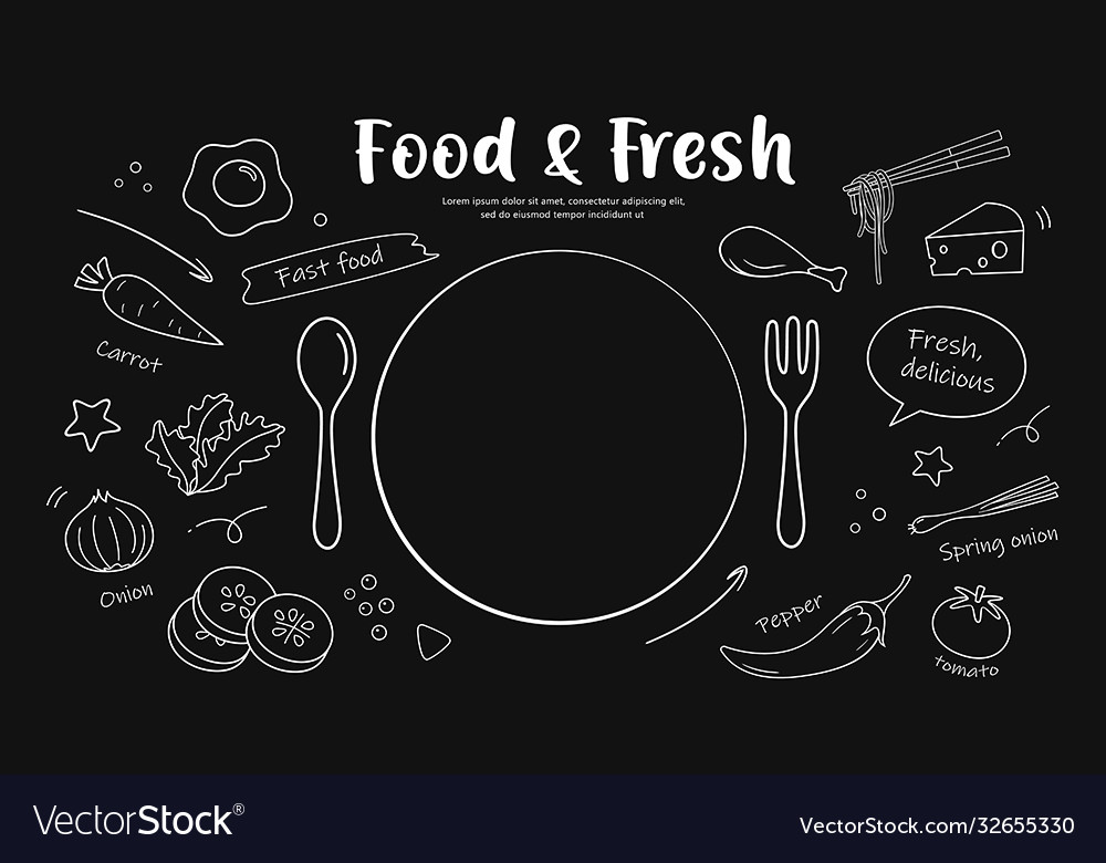 Drawing black and white food fresh design