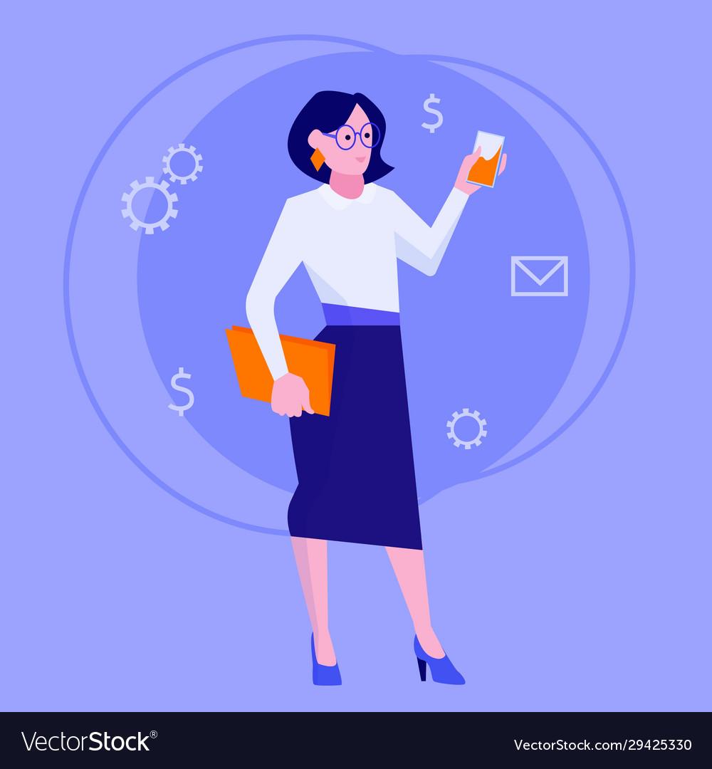 Flat style modern web businesswoman infographic