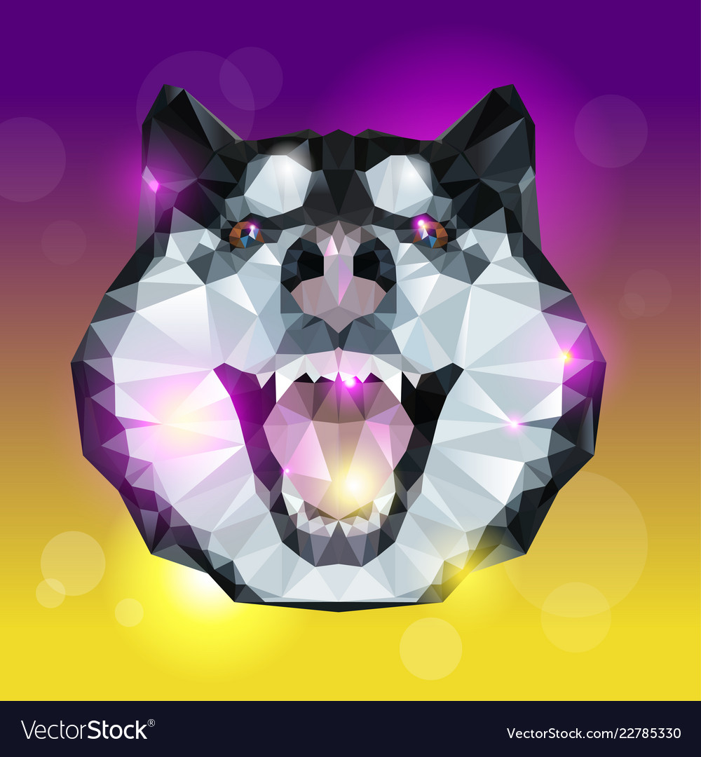 Geometric head of husky dog with bright background