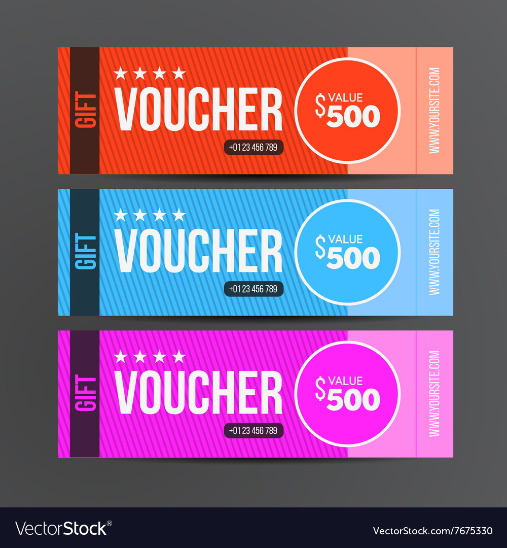 Gift voucher template Coupon design Royalty Free Vector