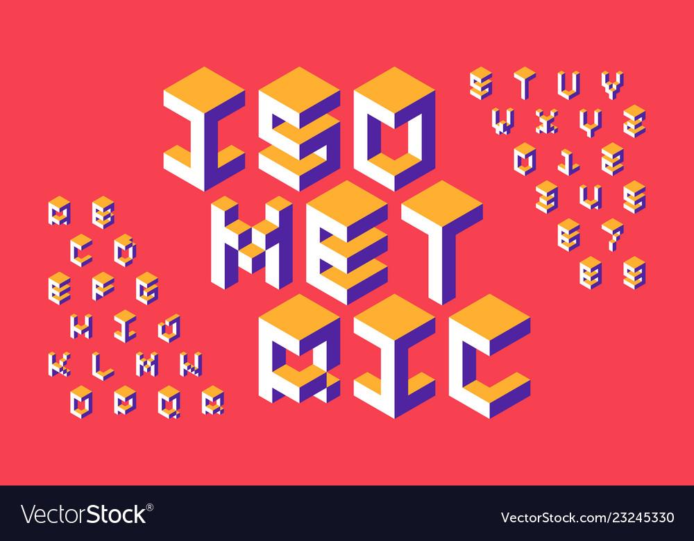 Isometric 3d font three-dimensional alphabet