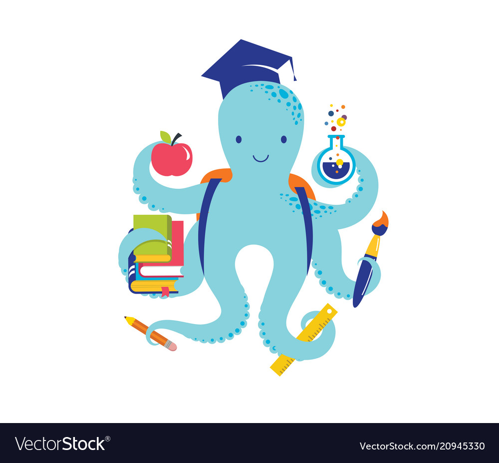 Octopus with a lot of educational icons elements