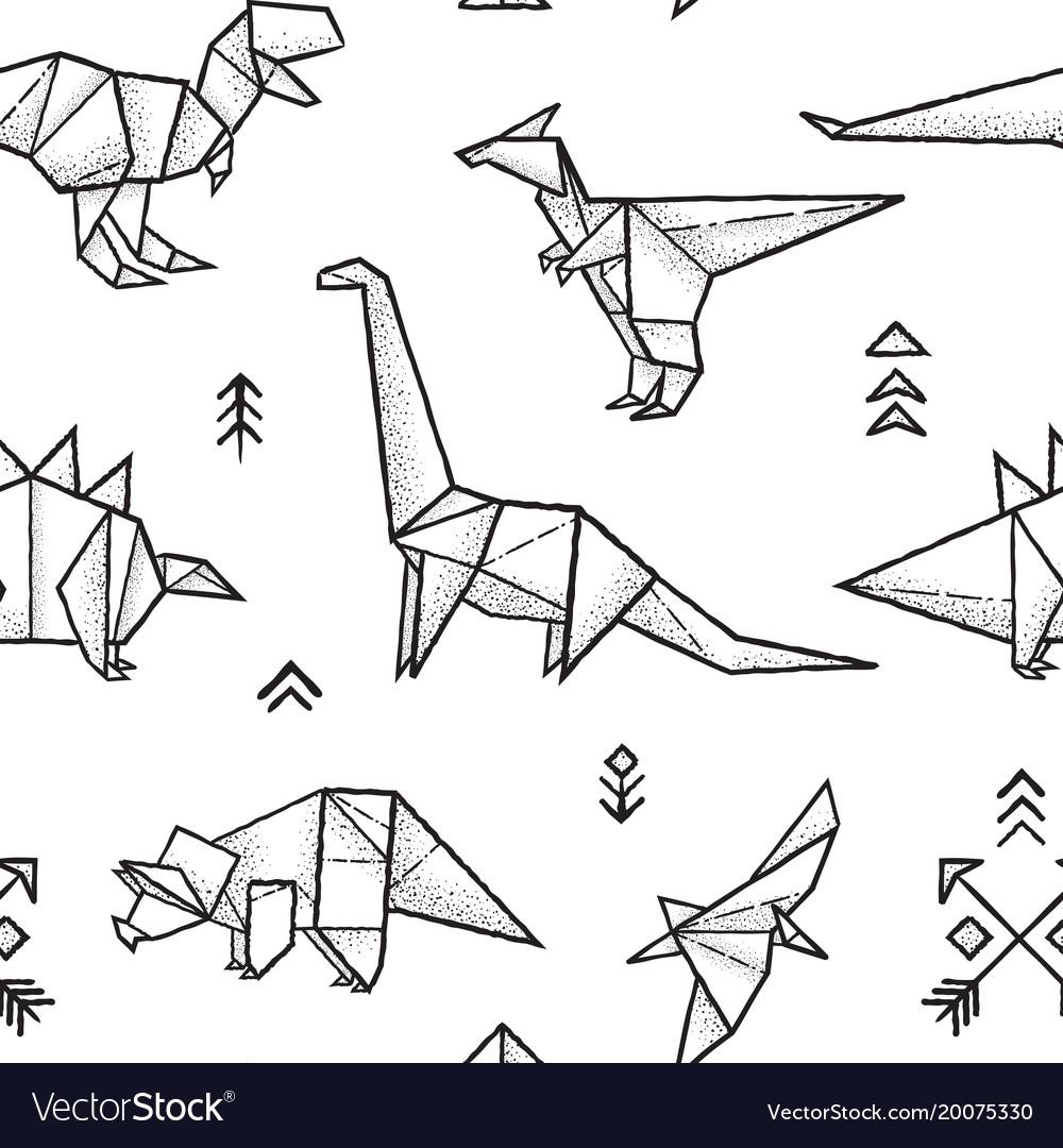Origami Dino Green Origami Dinosaur Raptor Stock Vector (Royalty ...   1080x1000