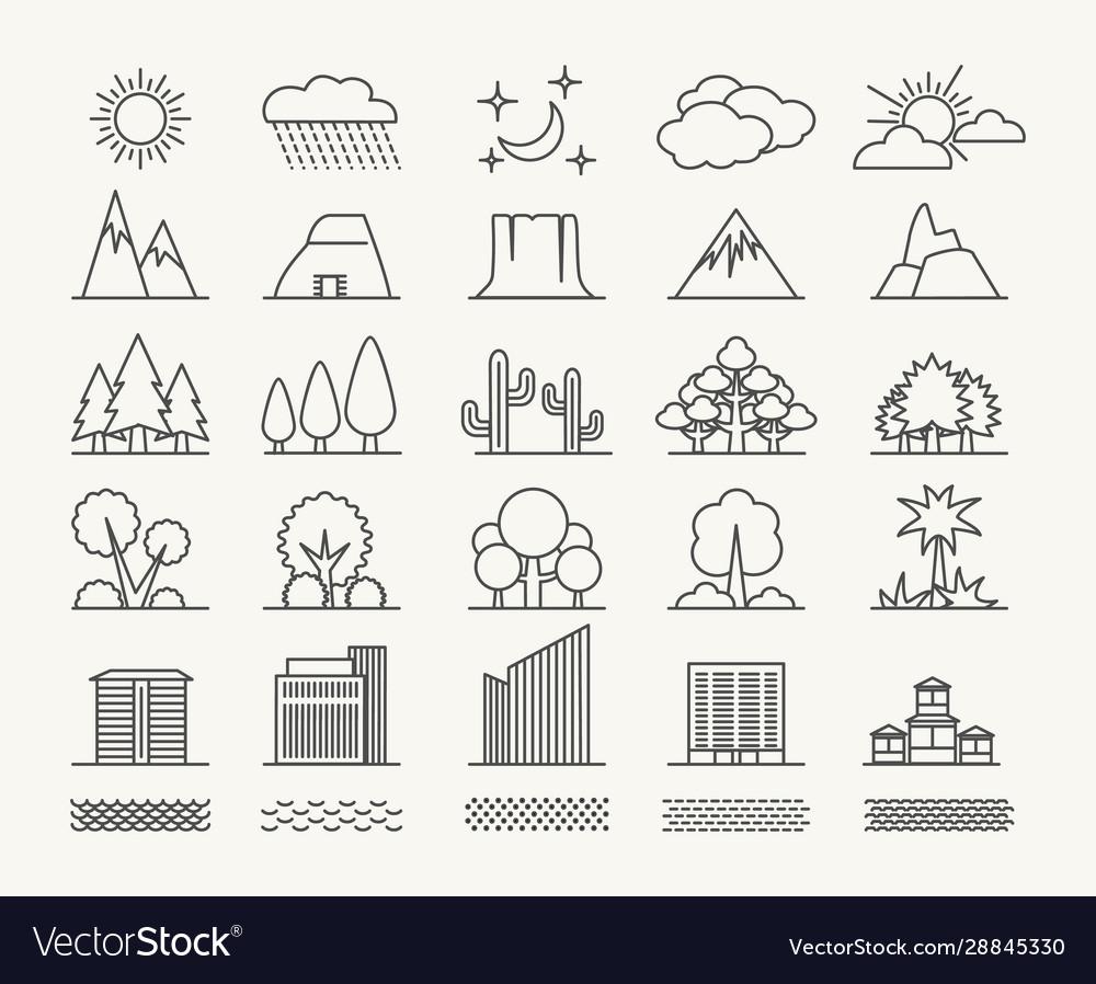 Outlines landscape elements set