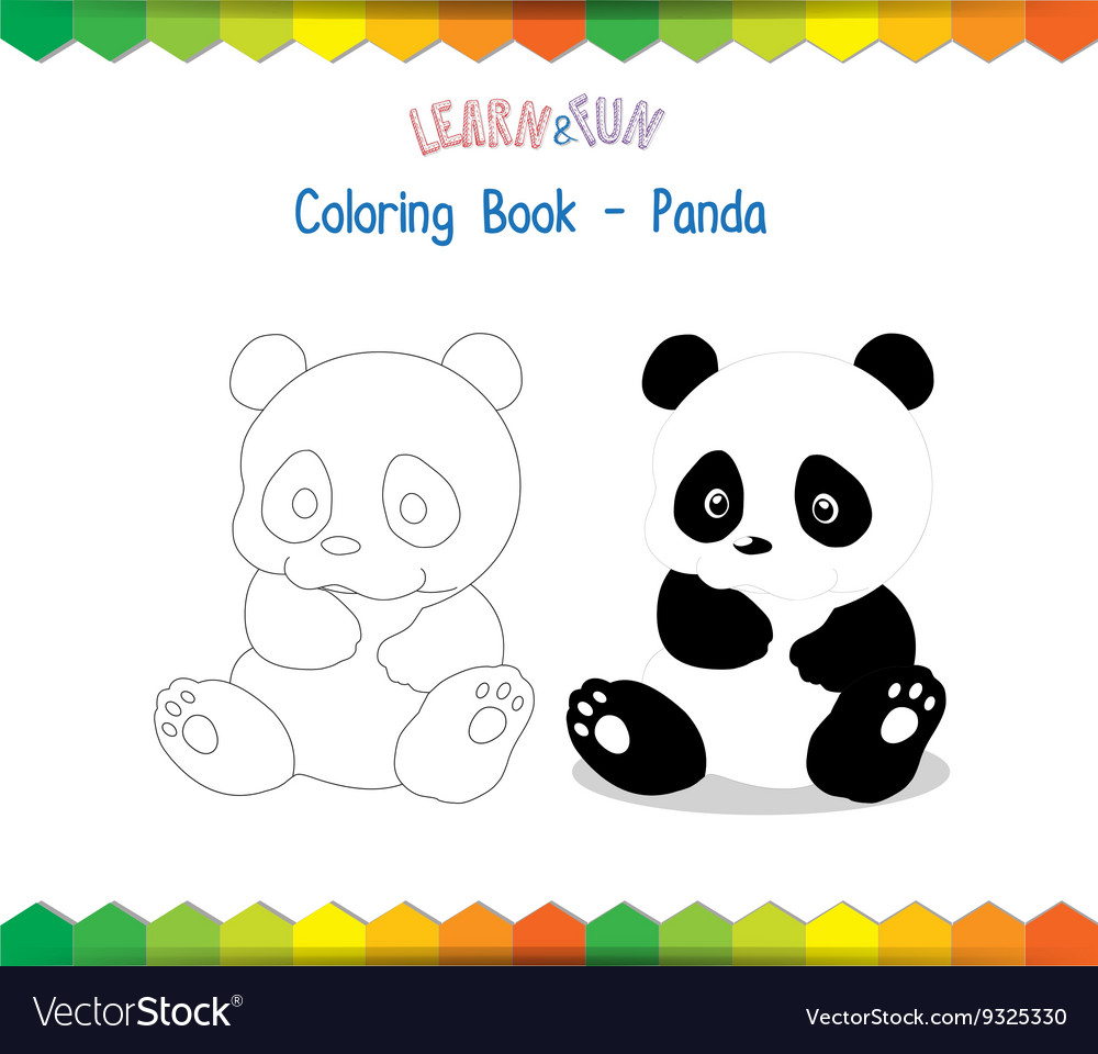 Panda coloring book educational game Royalty Free Vector