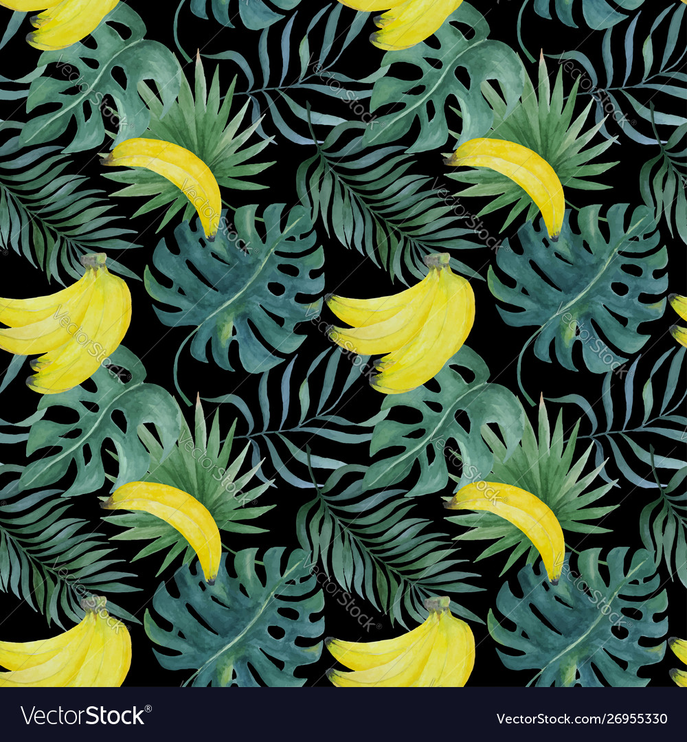 Seamless pattern with bananas and tropical leaves