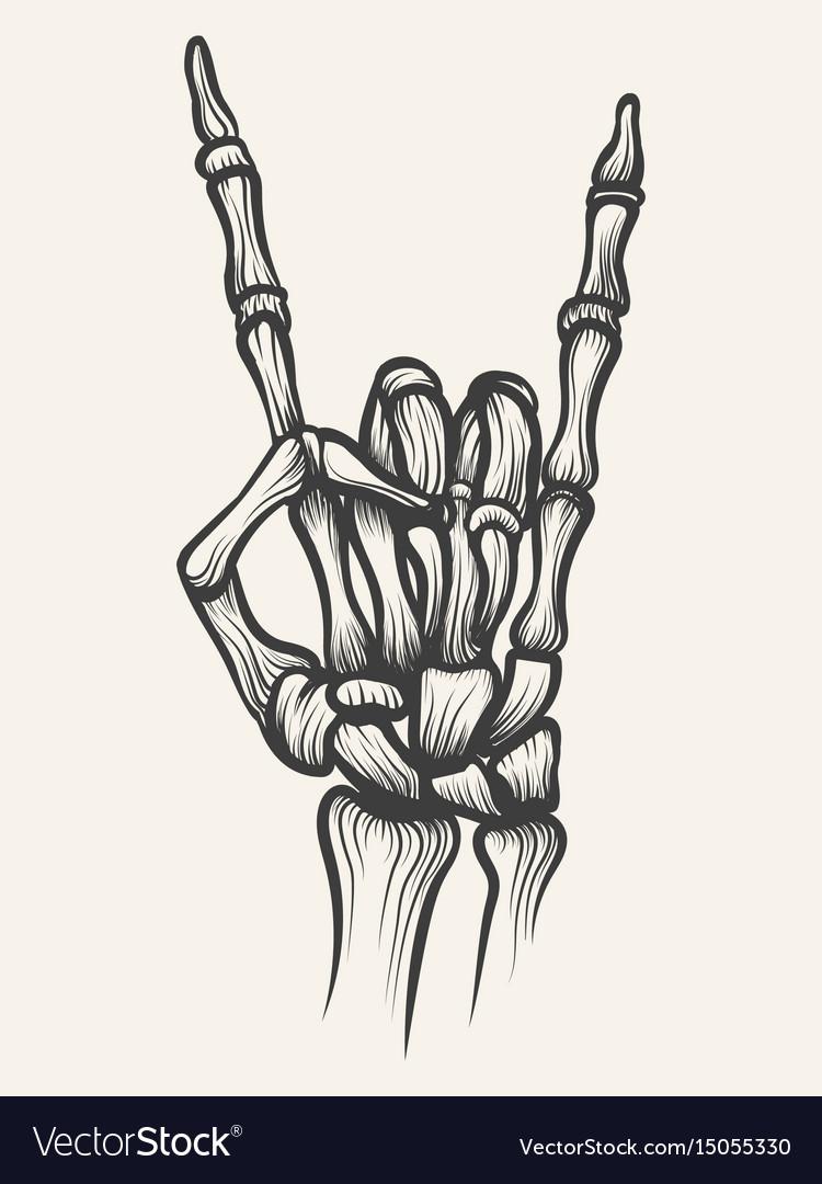 Skeleton heavy metal bones hand horn vector image