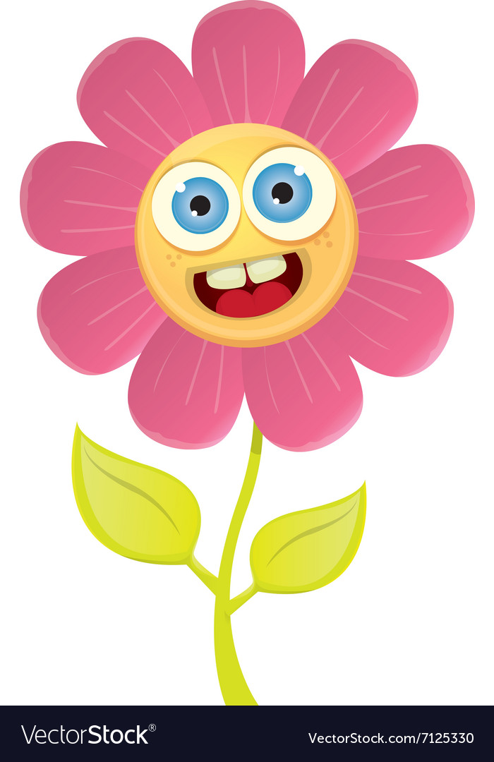 Spring cartoon flowers isolated on white vector image mightylinksfo