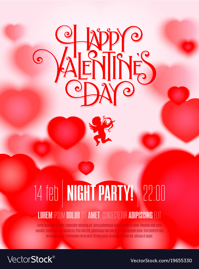 Valentine Day Flyer Royalty Free Vector Image Vectorstock