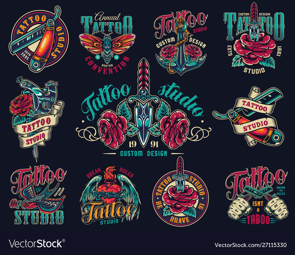 Vintage tattoo studio colorful prints vector