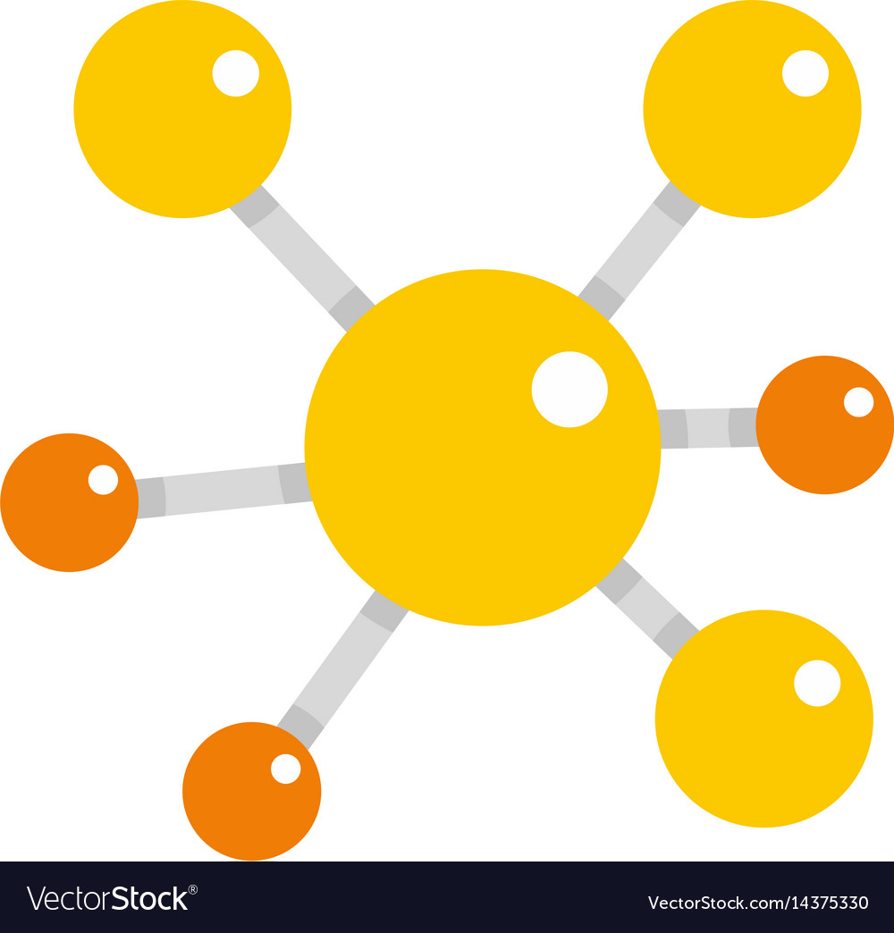Yellow molecular model icon isolated