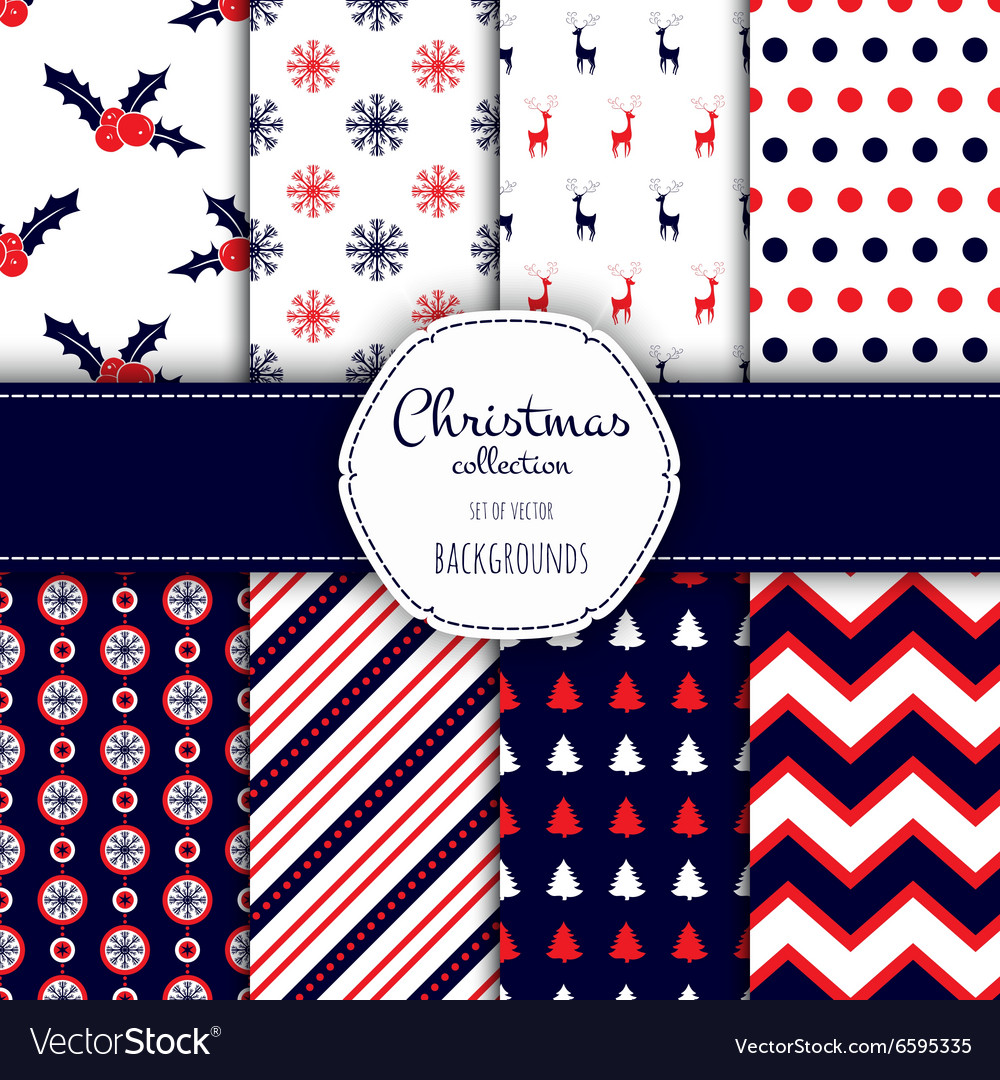 Collection of seamless patterns with red and white