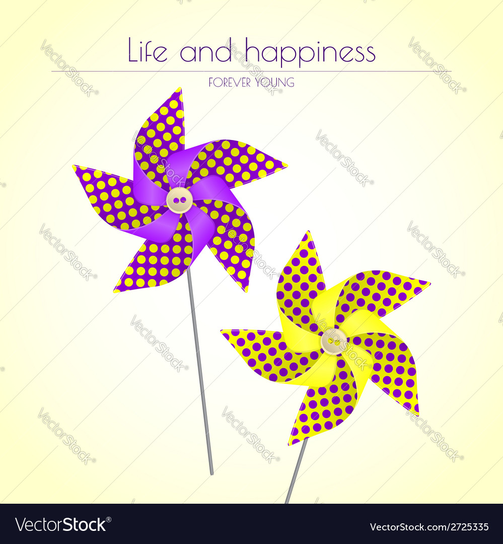 Colorful violet and yellow pinwheels
