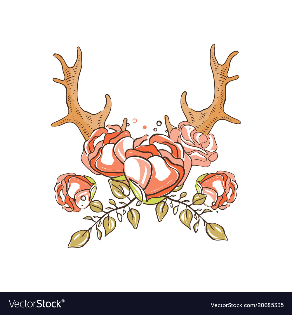 Deer horns with red roses hand drawn floral