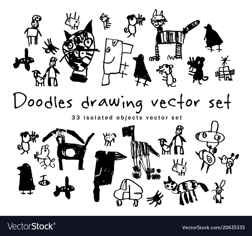 Doodles drawing set isolated objects black and