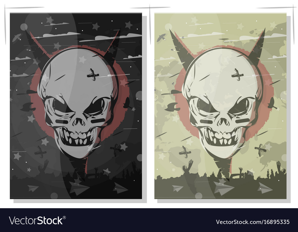 Evil skull set terrible gothic poster the banner