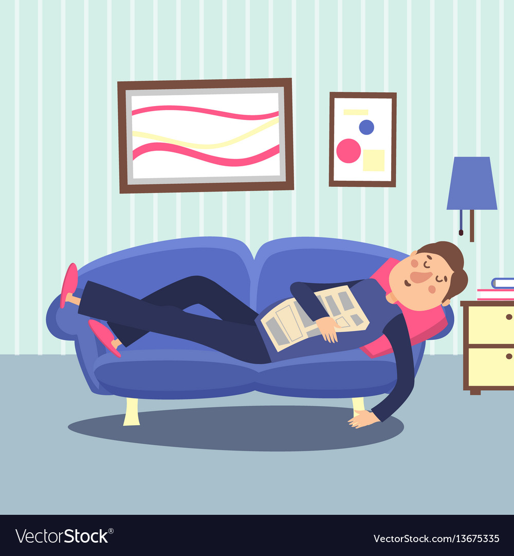 Funny sleeping man at home sofa with newspaper