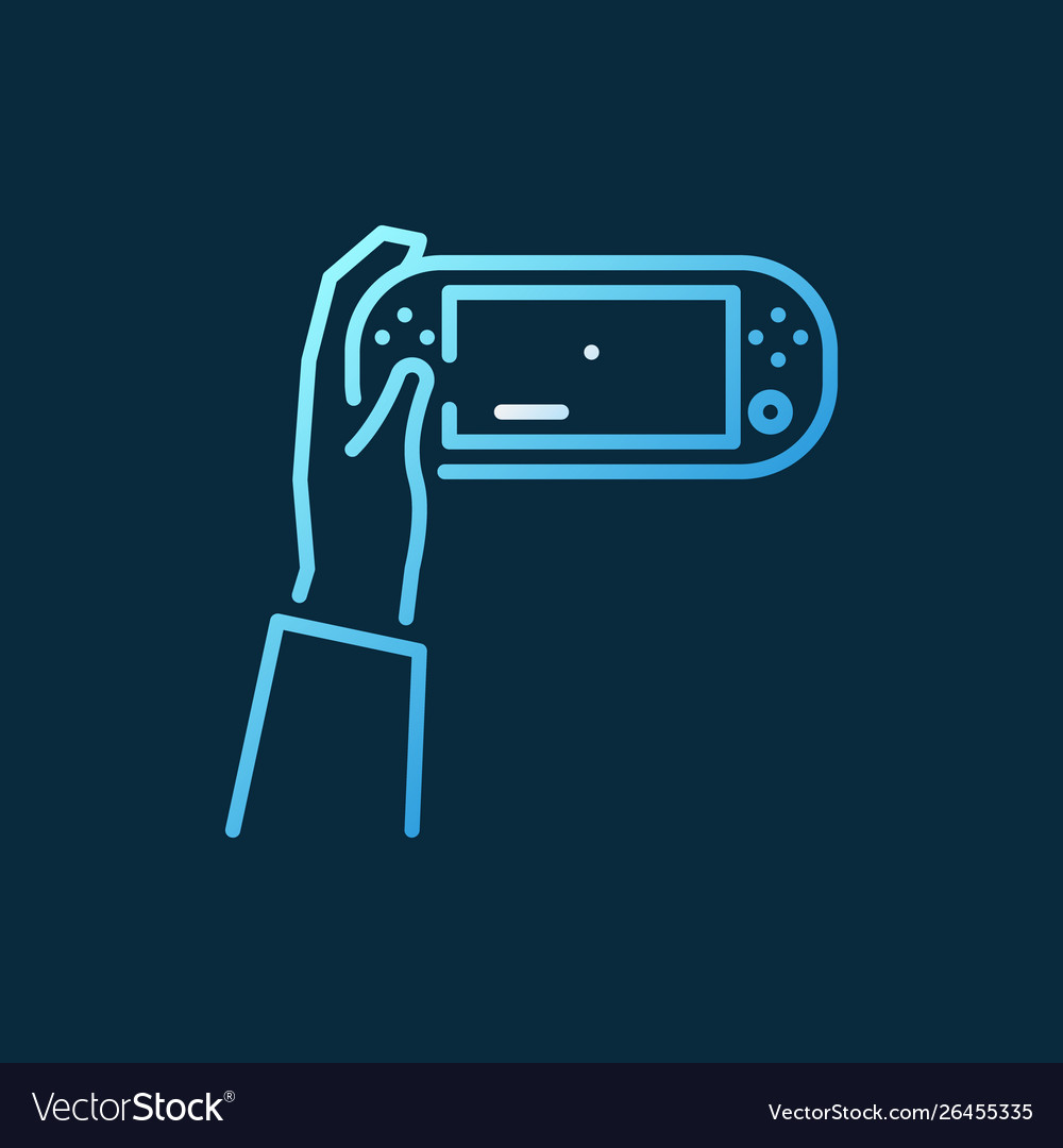 Hand holding handheld game console colored