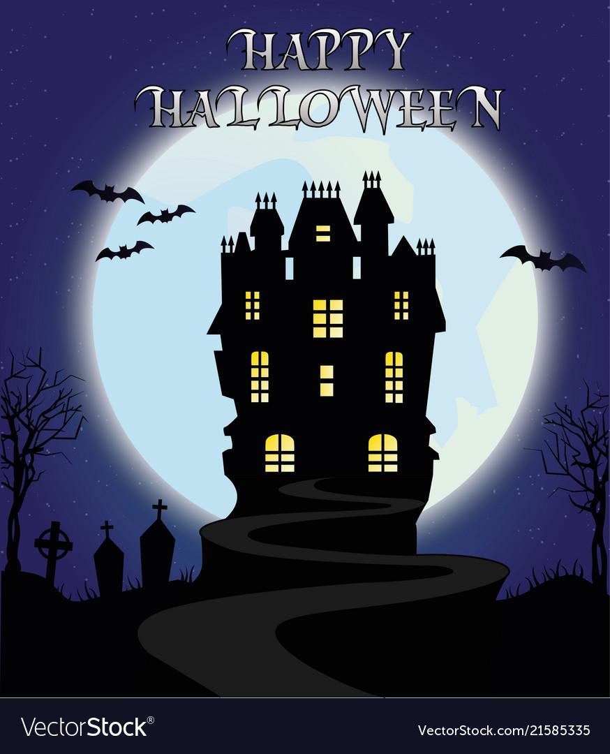 Happy halloween horror night castle moon