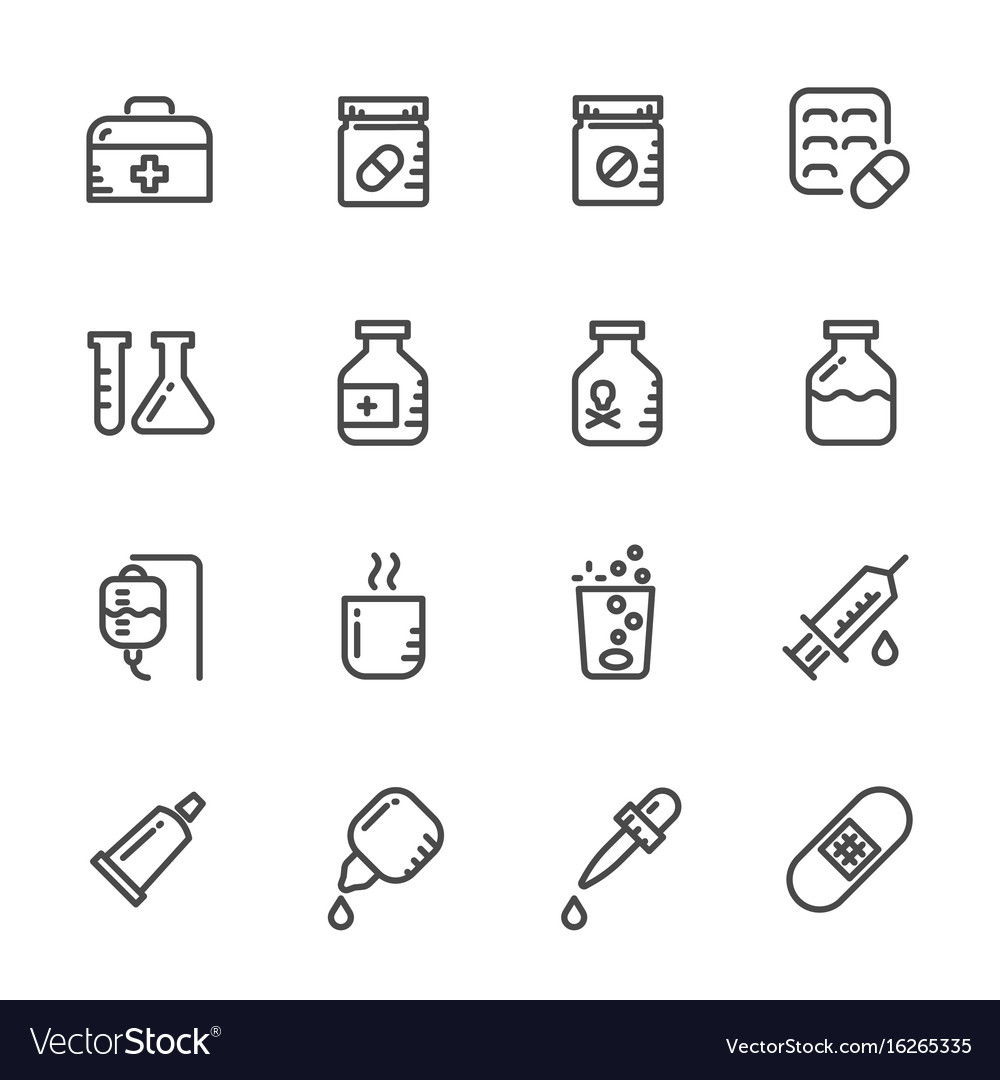 Icons set of pills line icons