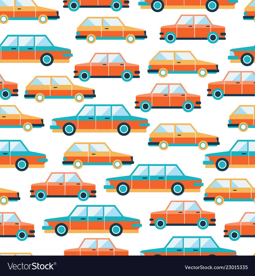 Lovely colorful cars seamless background pattern