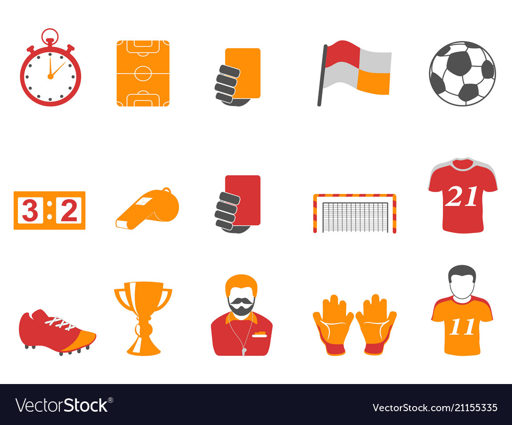 Orange and red color football icons set