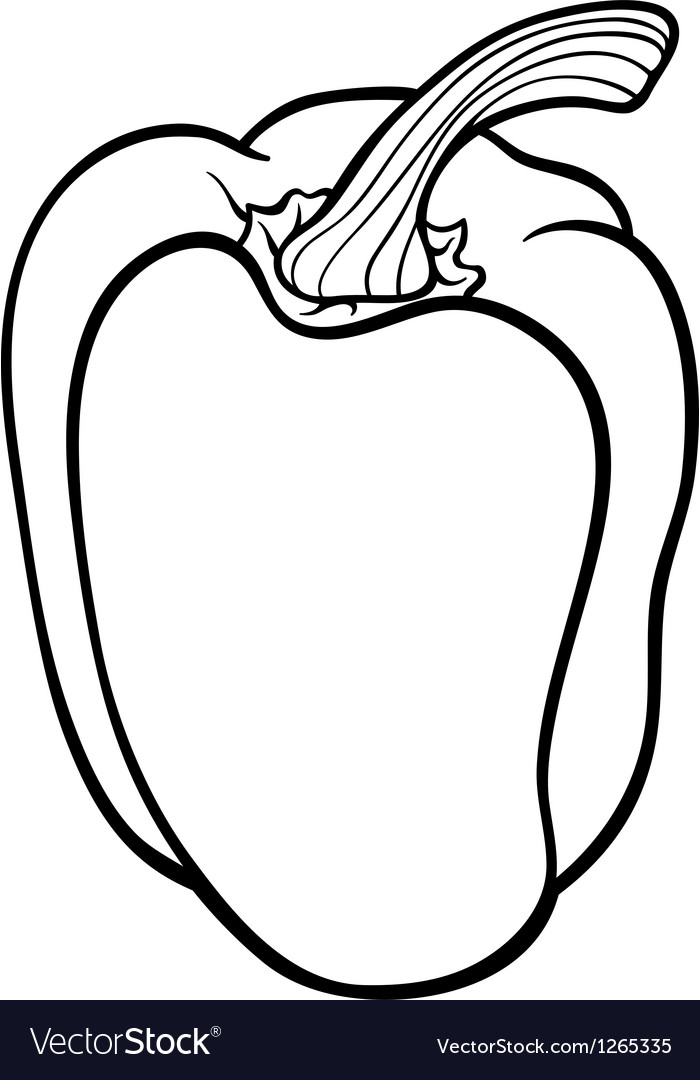Pepper vegetable cartoon for coloring book vector image
