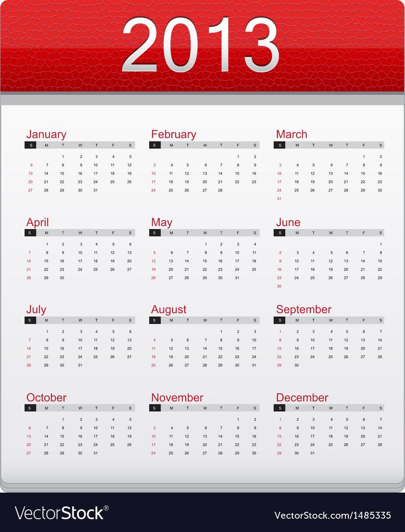 Red Calendar 2013