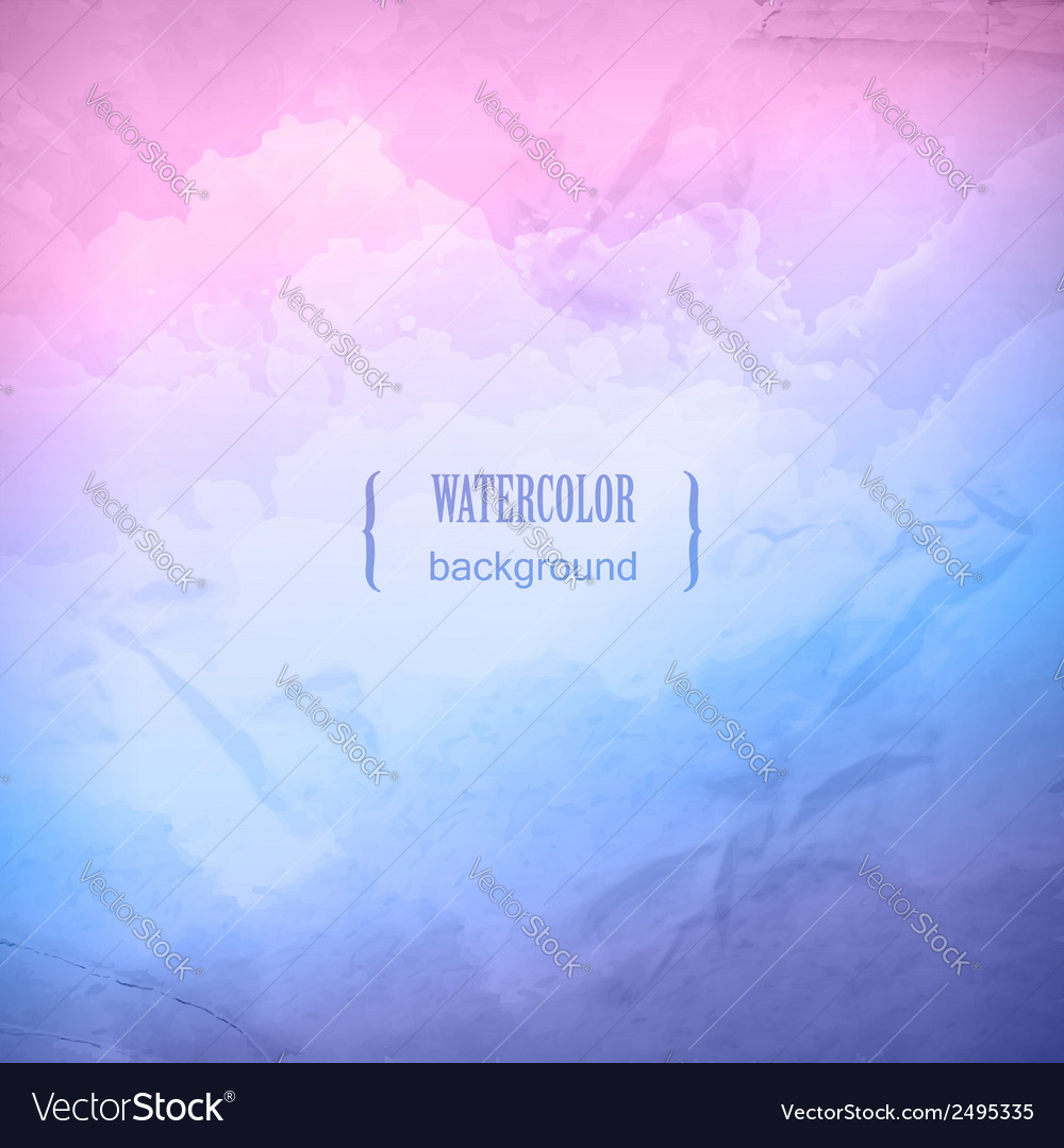 Watercolor cloudy sky background vector image